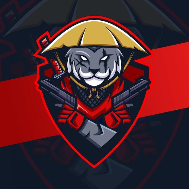 Katze ronin ninja maskottchen esport logo