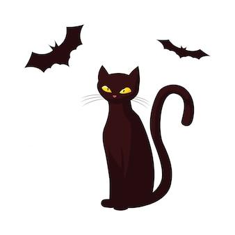 Katze schlägt glückliche halloween-feier