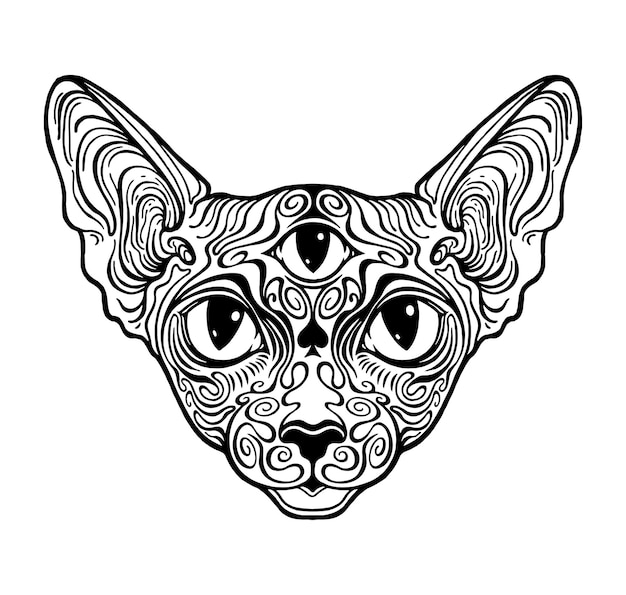 Katze sphinx gemustert. grafik des dritten auges