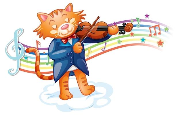 Katze spielt geige mit melodiesymbolen auf regenbogenwelle