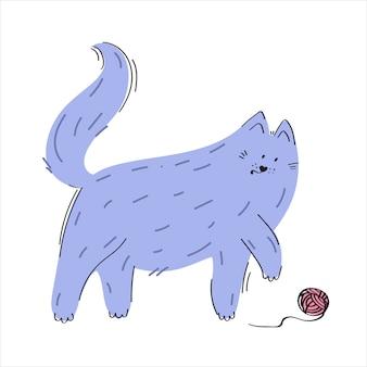 Katze spielt mit einem ball