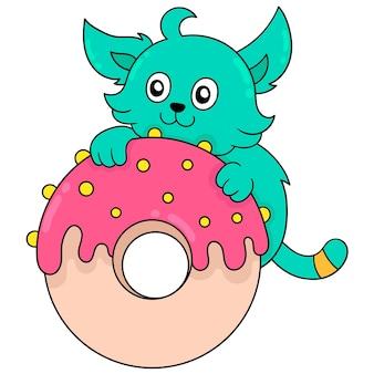 Katze umarmt einen köstlichen und süßen cremigen donut, vektorillustrationskunst. doodle symbolbild kawaii.