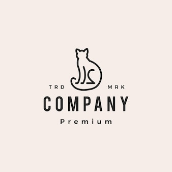 Katze umriss monoline hipster vintage logo vektor icon illustration