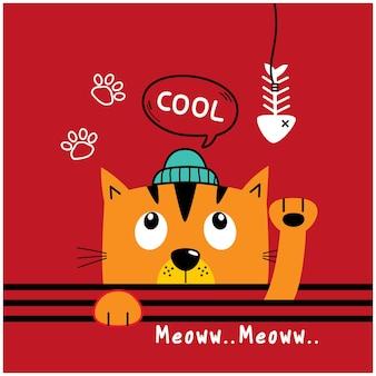 Katze und fischgräte lustige tierkarikatur