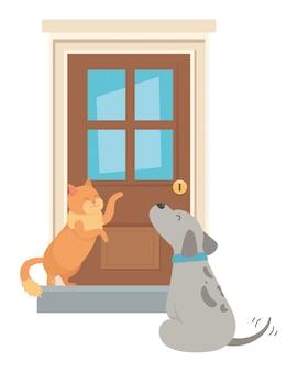 Katze und hund der karikatur