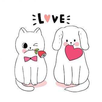 Katze und hund und herz und rose