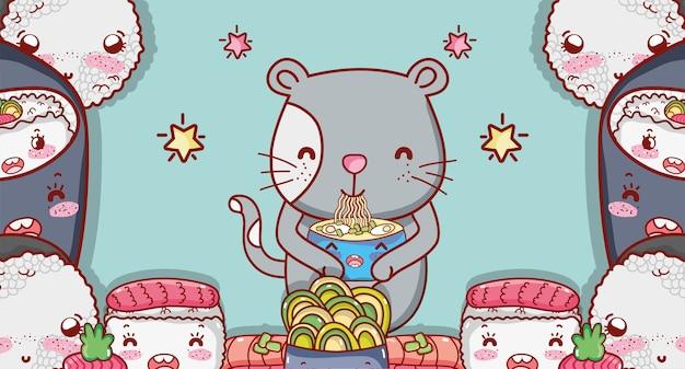 Katze und japanisches essen kawaii