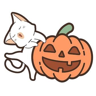 Katze und kürbis am halloween-tag