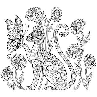 Katze und schmetterling. hand gezeichnete skizzenillustration für malbuch für erwachsene.