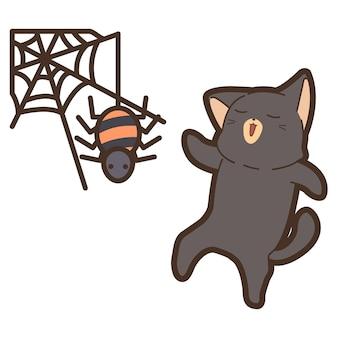 Katze und spinne am halloween-tag