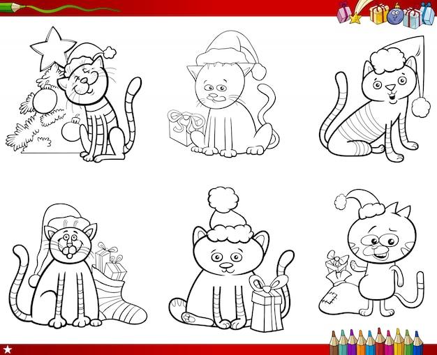 Katzen auf weihnachtssatz malbuch