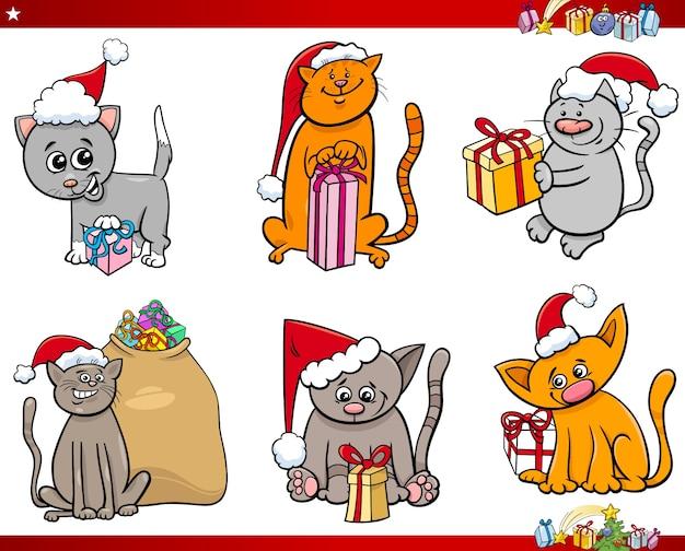 Katzen auf weihnachtszeit-karikatursatz