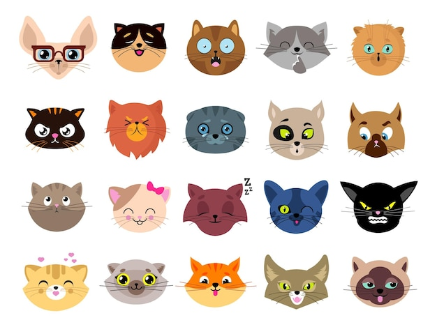 Katzen avatare. flache katzengesichter. isolierte kätzchenköpfe mit augen. tiere lustige emoji-charaktere, emoticon-aufkleber. niedliche haustier-clipart-vektor-illustration. katze-avatar-gesicht, kopf des set-cartoon-tiers