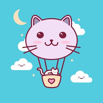 Katzen-ballon kawaii illustration