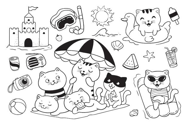 Katzen, die spaß am strand haben, kritzeln