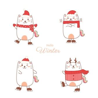 Katzen-einhorn-cartoon-handzeichnungssatz für weihnachten