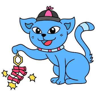 Katzen feiern das chinesische neujahr, indem sie feuerwerkskörper anzünden, doodle draw kawaii. illustrationskunst