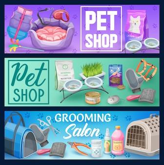 Katzen-haustier-tierpflege-banner mit heimtierbedarf