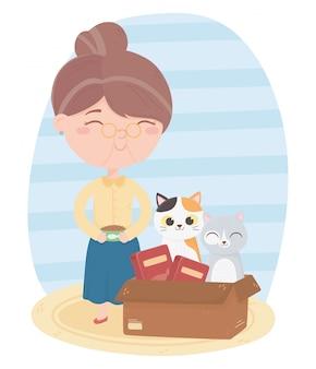 Katzen machen mich glücklich, alte frau mit futter und katze in box cartoon