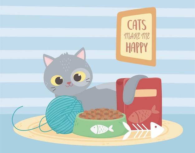 Katzen machen mich glücklich, katze mit futterball fischgräten