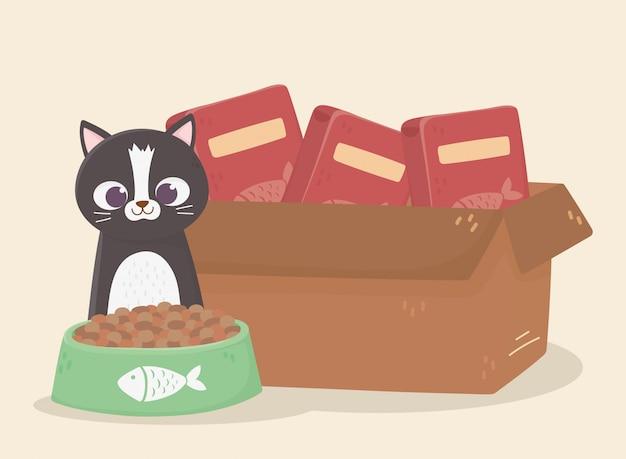 Katzen machen mich glücklich, katze mit pappkartonfutter und schüssel