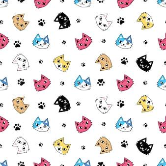 Katzen nahtlose muster kätzchen pfote fußabdruck