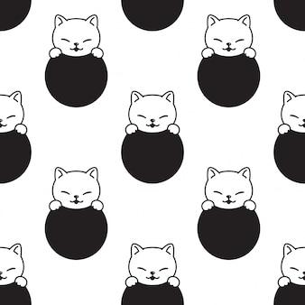 Katzen nahtlose musterkätzchenkarikaturillustration