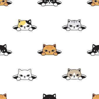 Katzen nahtloses muster kätzchen versteckt