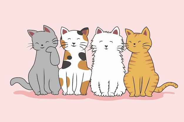 Katzen niedlichen cartoon kawaii set