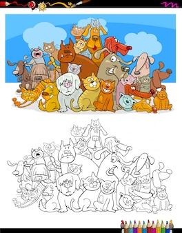 Katzen und hunde zeichen farbbuch