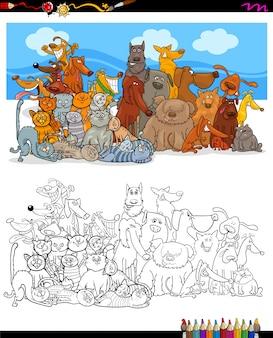 Katzen und hunde zeichen gruppe farbbuch