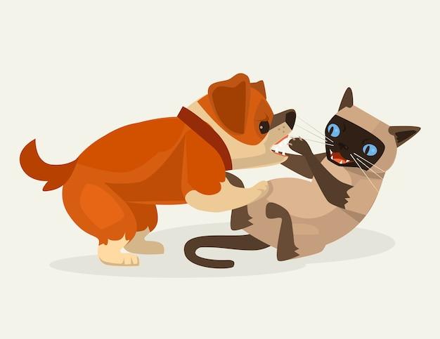 Katzen- und hundecharakter kämpfen illustration