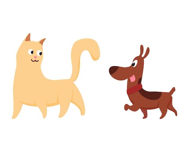 Katzen und hundecharaktere beste glückliche freunde. zusammen spielen isoliert auf weißem hintergrund