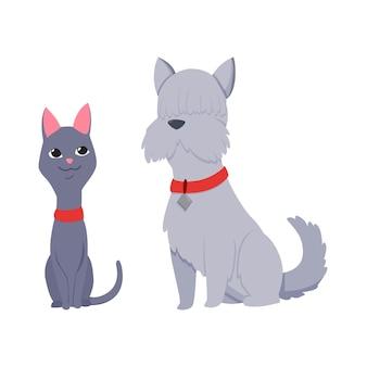 Katzen und hundefiguren beste glückliche freunde