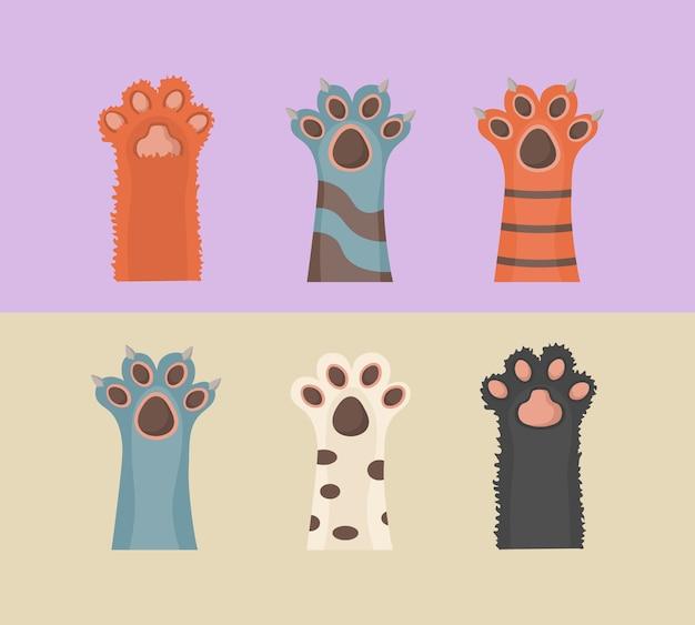 Katzen- und hundepfoten, hintergrund, drucke, karikatur, niedliche tierbeine tapete. broschüre, flyer, postkarte. pfoten hoch tiere isoliert auf weißem hintergrund. in flachem design.