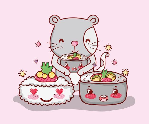 Katzen- und japan-lebensmittel kawaii