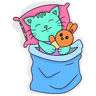 Katzen und kätzchen schlafen zusammen in decken, doodle draw kawaii. vektorillustrationskunst