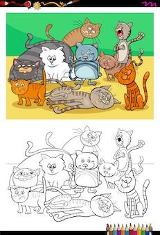 Katzen und kätzchen zeichen gruppe farbbuch