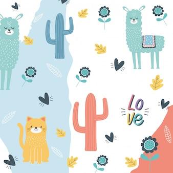 Katzen- und lamakarikaturdesign-vektorillustration