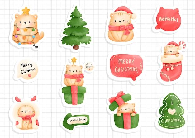 Katzen-weihnachtsaufkleber, -planer und -einklebebuch.