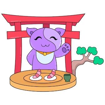 Katzen werben für sashimi, ein typisch japanisches essen, vektorillustrationskunst. doodle symbolbild kawaii.
