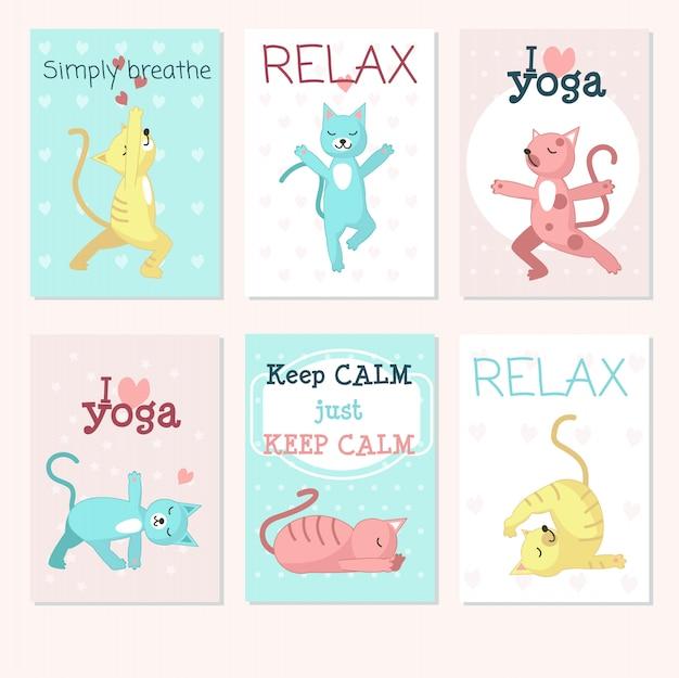 Katzen yoga kartensatz