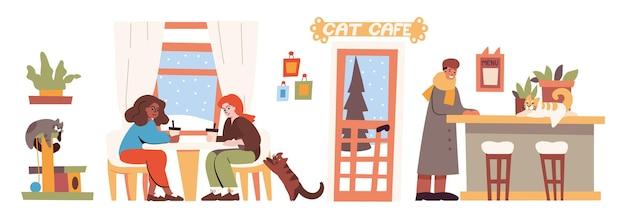Katzencafé-innenraum mit menschen und haustieren. vector flache illustration des coffeeshops mit kätzchen auf zähler und katzenkletterturm, frauen sitzen am tisch, mann, pflanzen und winterhintergrund hinter fenstern