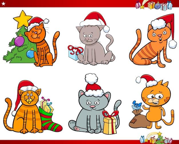 Katzencharaktere auf weihnachtskarikatursatz