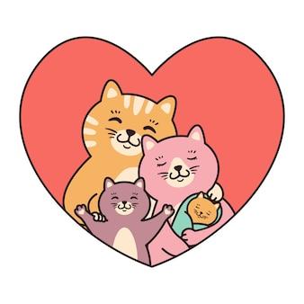 Katzenfamilie mutter, vater, kind und neugeborenes baby umarmen im herzen.