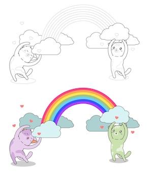 Katzenfiguren mit regenbogen malvorlagen für kinder