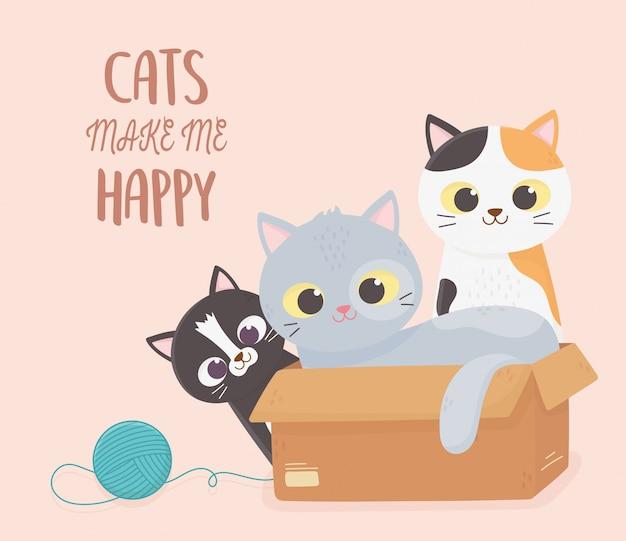 Katzenhaustier machen mich glückliche kätzchen mit pappschachtel- und wollball-cartoonillustration