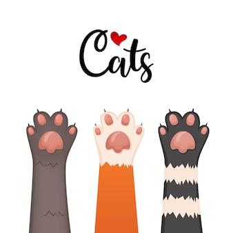 Katzenhintergrund, kätzchenkarikaturpfoten eingestellt, vektorillustration