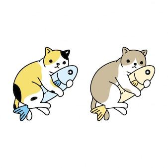 Katzenkätzchen umarmen fischkarikaturfigur