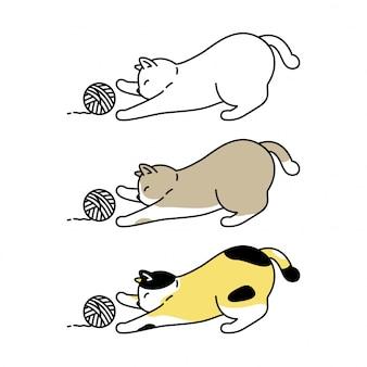 Katzenkätzchengarnball-zeichentrickfigur